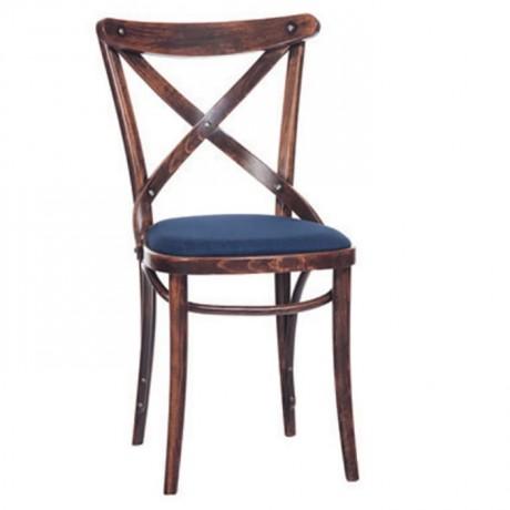 Çapraz Sırtlı Koyu Eskitme Ahşap Tonet Sandalye - ths9504s