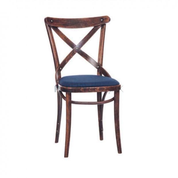 Çapraz Sırtlı Koyu Eskitme Ahşap Tonet Sandalye