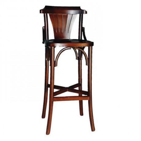 Ceviz Boyalı Ahşap Tonet Bar Sandalye - ths9070
