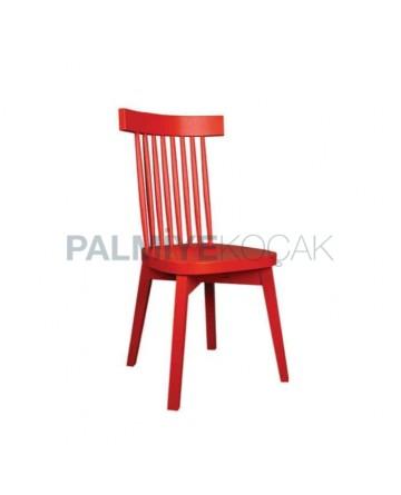 Kırmızı Boyalı Tornalı Sandalye