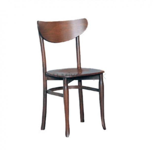 Koyu Ahşap Boyalı Cafe Sandalyesi