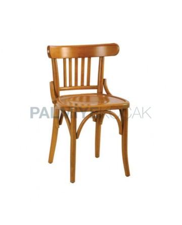 Natural Boyalı Dik Çıtalı Ahşap Tonet Sandalye