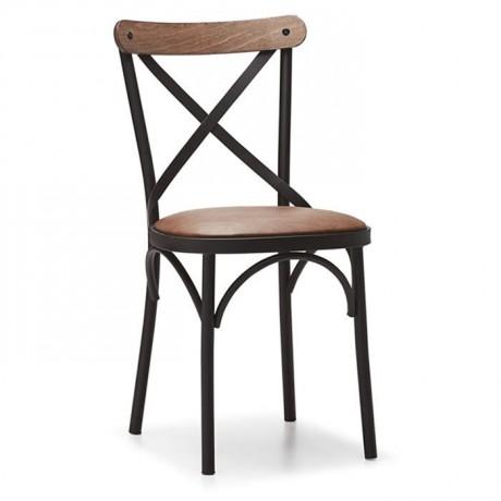 Tonet Sandalye Kahverengi Deri Oturma Siyah İskeletli Tonet Sandalye - Wooden Thonet Chair