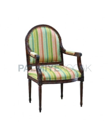 Lathe Foot ArmchairStriped Fabric Upholstered Classic Chair