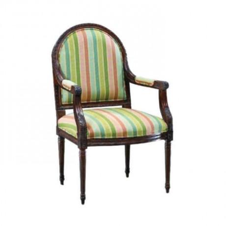 Torna Ayak Kollu Çizgili Kumaş Döşemeli Klasik Sandalye - ksak67