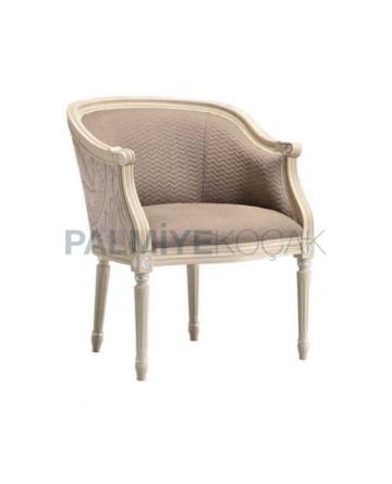 Torna Ayaklı Gri Kumaşlı Ahşap Klasik Kollu Sandalye
