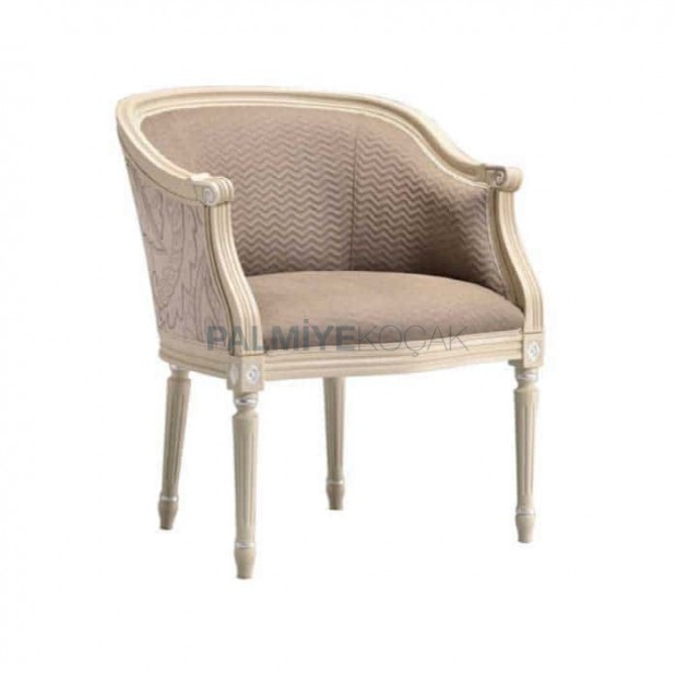 Wooden Classic Armchair with Lathe Leg Gray Fabric