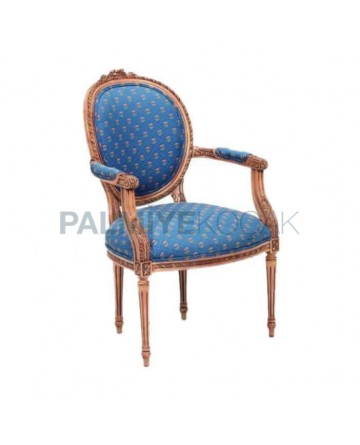 Turned Blue Fabric Upholstered Chair