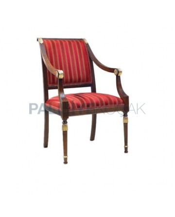 Turned Oriental Red Stripe Fabric Classical Armchair with Upholstered