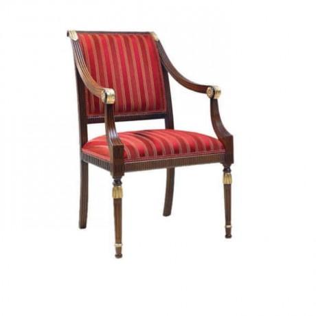 Tornalı Oymalı Kırmızı Çizgili Kumaş Döşemeli Klasik Kollu Sandalye - ksak95