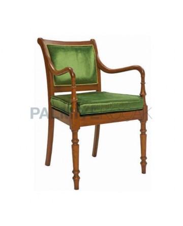Tornalı Yeşil Kumaş Döşemeli Kollu Klasik Sandalye