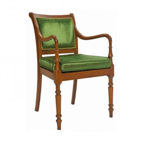 Turned Green Fabric Upholstered Classic Chair - ksak112