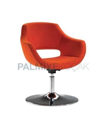 Orange Fabric Upholstered Round Metal Leg Polyurethane Armchair
