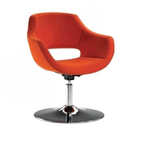 Turuncu Kumaş Döşemeli Yuvarlak Metal Ayaklı Poliüretan Kollu Sandalye - psd258