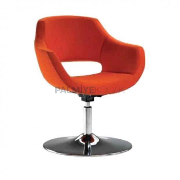 Turuncu Kumaş Döşemeli Yuvarlak Metal Ayaklı Poliüretan Kollu Sandalye