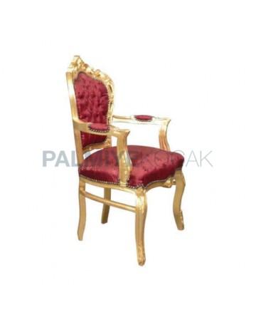 Varaklı Oymalı Klasik Kollu Sandalye