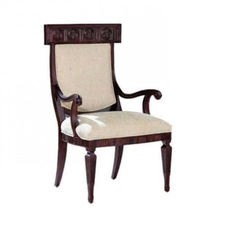 Wenge Boyalı Beyaz Döşemeli Klasik Kollu Sandalye - ksak33