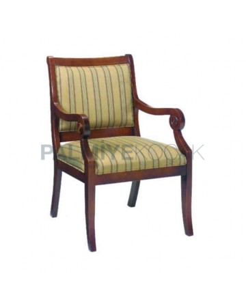 Dining Room Striped Fabric Upholstered Armchair