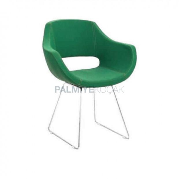 Yeşil Deri Kumaş Döşemeli Krom Ayaklı Kollu Sandalye