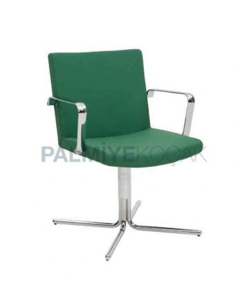 Yeşil Kumaş Döşemeli Krom Ayaklı Sandalye