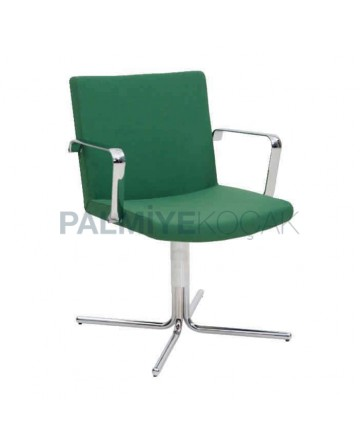 Green Fabric Upholstered Chrome Leg Chair