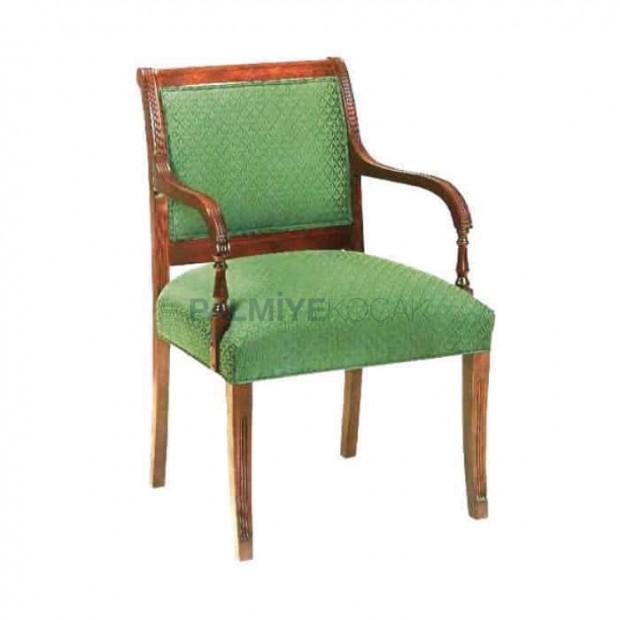 Yeşil Kumaşlı Eskitme Kollu Sandalye
