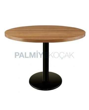 Round Wooden Table Top Cafe Restaurant Black Metal Leg Table