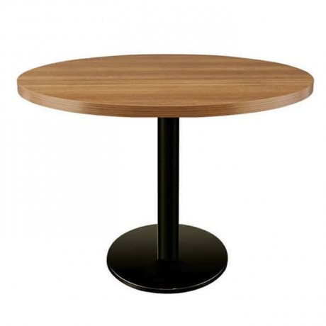 Round Wooden Table Top Cafe Restaurant Black Metal Leg Table - amty8095