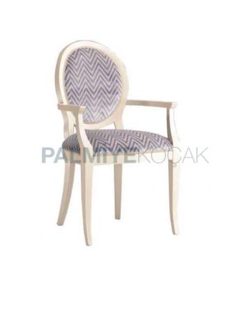 Yuvarlak Sırtlı Beyaz Boyalı Desenli Kollu Sandalye