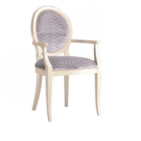 Round Backed White Dyed Patterned Armchair - ksak101