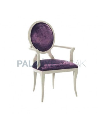 Round Backed White Lacquered Classic Lacquered Chair with Lila Fabric