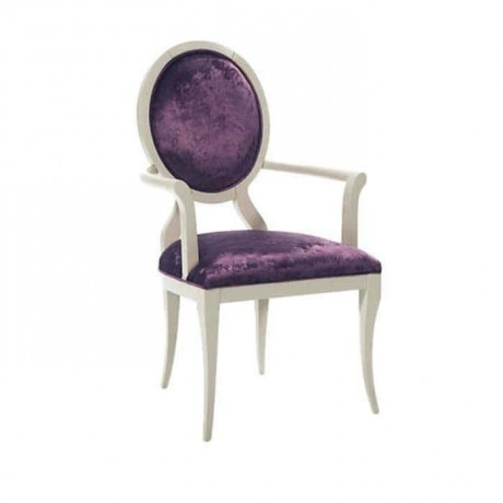 Yuvarlak Sırtlı Beyaz Lake Boyalı Lila Kumaşlı Klasik Kollu Sandalye - ksak91